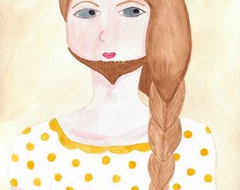 SALE - Circus watercolor art print - Elana, the Bearded Lady