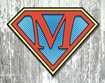"Superhero Initial ""M"" Sign Large 26""X20"" DIY Printable Instant Download"
