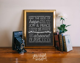 Bible Verse subway art, printable wisdom Scripture Chalkboard Print Christian wall art decor poster quote typography Romans 15:13