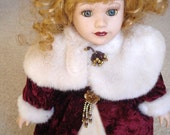 """Collectible Blonde Porcelain Doll Elegantly dressed, 15 - 16"""" tall"""