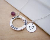 Hope Circle Charm Swarovski Birthstone Initial Personalized Sterling Silver Necklace / Gift for Her