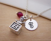 Jack In The Box Charm Swarovski Birthstone Initial Personalized Sterling Silver Necklace / Gift for Her