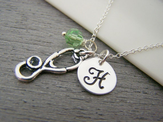 Stethoscope Medical Nurse Doctor Charm Swarovski Birthstone Initial Personalized Sterling Silver Necklace / Gift for Her