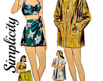 Vintage 40's Two Piece Swim Suit Sewing Pattern Size 16 Bust 34 Bra Top Sarong Wrap Skirt Beach Jacket Simplicity 1302 Non Printed FFolds