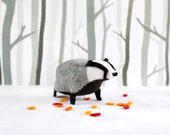 Badger Soft Sculpture / Badger Plush / Badger Art / Soft Art Badger / Felt Badger / British Badger Softie