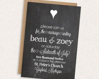 DIY Printable Wedding Invitation - Chalkboard Wedding Invitation - ModernRustic - The Zoey