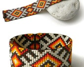 Cuff Bracelet, Beaded Bracelet, Seed Bead Bracelet, Bead Loomed Bracelet, Beadwoven Cuff, Ethnic Bracelet, Seed Bead Cuff, Beaded Jewelry
