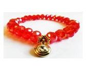 Red Swarovski Crystal Stretch Bracelet  - Handmade Jewellery