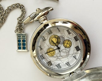 Doctor Inspired Gallifrey Pocket Watch Tardis Fob