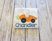 Cute Bunny In Carrot Car Appliqued Shirt - Embroidered, Personalized, Monogram, Easter, Bunny, Carrot Car, Easter Shirt, Easter Bunny