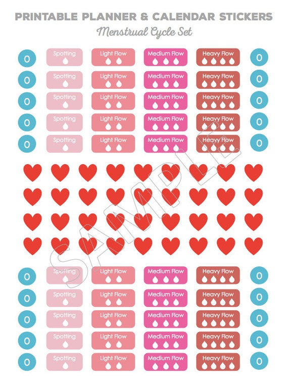 Printable Planner Stickers - Calendar Stickers - MENSTRUAL CYCLE SET ...