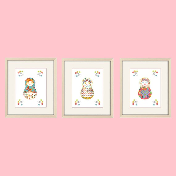 Wall Decor For A Baby Girl Nursery : Baby girl nursery decor art babushka wall