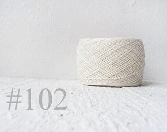 Natural white Laceweight Linen yarn - white linen thread  #102