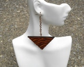 Hanging Triangle Earrings // Afrocentric // Natural Wood Hand Painted Earrings // African and Caribbean Inspired Jewelry