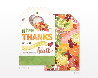 INSTANT DOWNLOAD Thanksgiving Gift Tags Fall Vintage Autumn Give Thanks Grateful Heart Favor Party Label custom | PDF, You Print