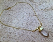 Gold Raw Crystal Quartz Pendant with Gold Square Beads, Raw Quartz Necklace, Point Necklace, Quartz Necklace