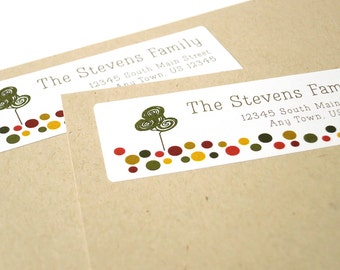 Custom Address Labels, Fall Colors Polka Dot Address Labels, Autumn Tree Return Address Label Stickers, 60 labels, Thanksgiving