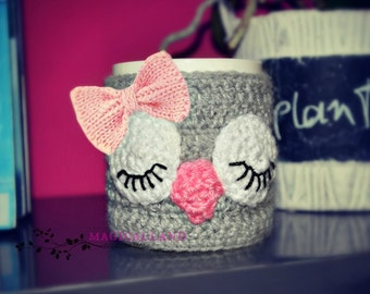 Owl Knit Mug Cozy with Bow - Knitted Tea Cup Mug Sweater - Hand Knit Coffee Mug Warmer- Cup sleeve