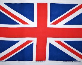 Vintage UNION JACK Tea Towel Souvenir British / UK Flag kitchen dishtowel