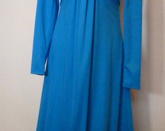 Vintage 1960's Blue Long Sleeved Maxi Dress