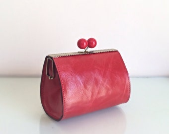 Vintage women leather clutch, red clutch,vintage,free shipping