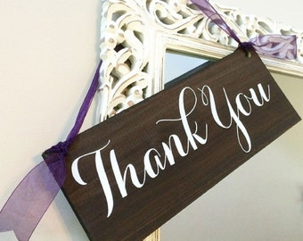 Wood Thank You Sign  / Thank You Wedding Sign / Wedding Signs   Wedding Decor   Wedding Photo Prop   Rustic Wedding Sign - WS-43