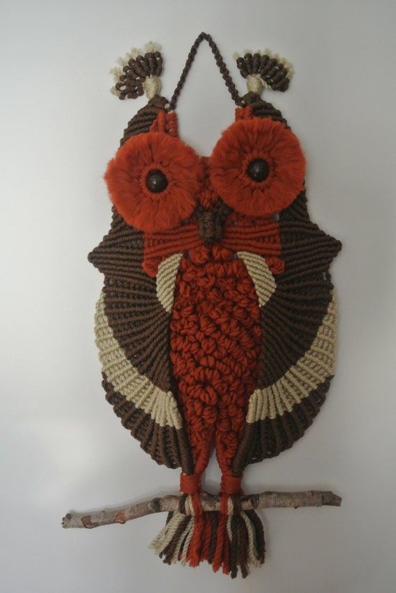 macrame owls macrame owl wall decoration wall hanging by roseliensmacrame 8656