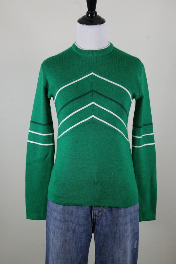 1970s Green Chevron Obermeyer Ski Sweater Made In British