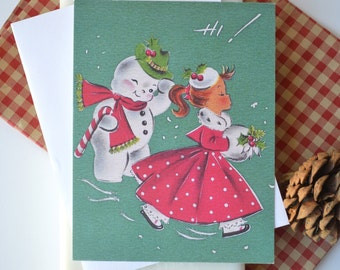Saucy Snowman Holiday Notecards, Christmas Greetings, 10 Flat notecards with white envelopes, vintage retro design