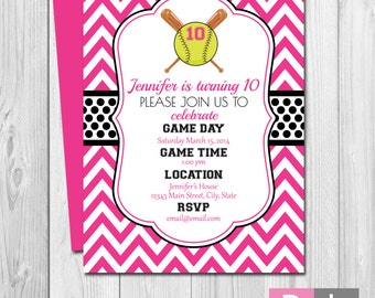 Softball Birthday Party Invitation - Pink and Black - Chevron Stripes - BACKSIDE INCLUDED - DIY - Printable