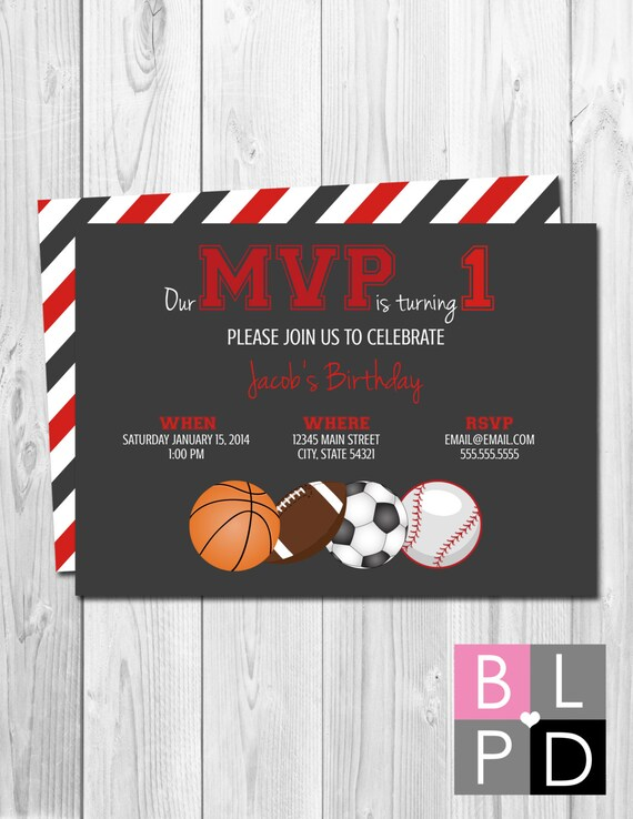 mvp sports theme birthday party invitation red and grey