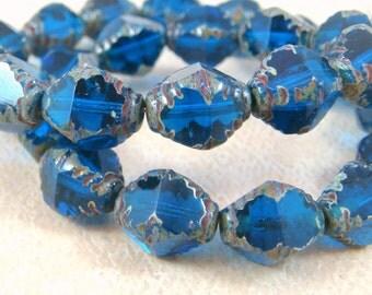 Bicone Beads, Czech Glass Beads - Capri Blue Glass Beads (BIC/N-0595) - 10x8mm - Qty. 10