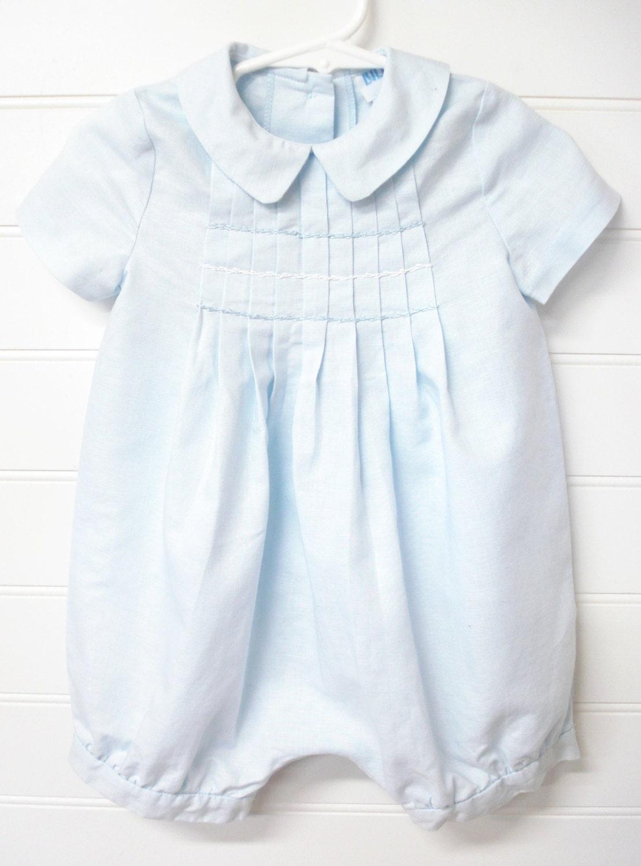 Vintage Baby Clothes Baby Boy Jon Jon Romper Baby Blue Romper