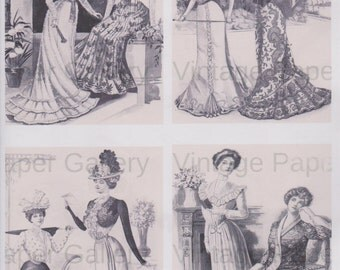 DOWNLOAD-VICTORIAN FASHIONS Edwardian Dresses Digital Collage Sheet 4 Printable Images - Scrapbook - Gift Tags - Magnets - Cards