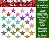 Glitter Stars Digital Clipart - Colorful Rainbow Star Clip Art, Instant Download, Printable, Digital Star