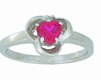 0.50 Ct Ruby & Diamond Heart Ring .925 Sterling Silver Rhodium Finish