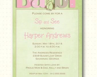 Sip and See Baby Girl Invitation, pink, green, brown, bunny, gender reveal, digital, printable, invite SS1452