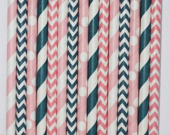 50 Nautical Girl  Paper Straw Mix  PAPER STRAWS birthday party bridal shower event cake pop sticks Pink navy