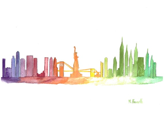Aquarelle originale peinture skyline de manhattan de new for Disegni new york