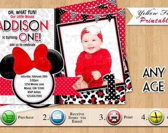Minnie Mouse 1st Birthday Invitation, Red Leopard First Birthday Invitations, Minnie Mouse Party,or Any Age,  JAN-Style 8- YOU PRINT