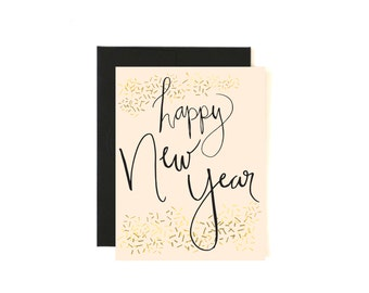 Happy New Year Card - Holiday Card - Seasons Greeting Card - Confetti Card