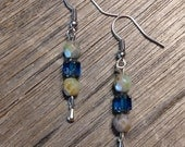 Blue and Green Earrings, Beaded, Handmade, Silver, Hippie, Bohemian, Jewelry