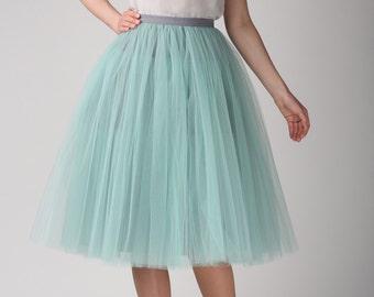 Grey mint tutu skirt, Handmade long skirt, Handmade tulle skirt, High quality skirt, Tea length petticoat, Tea length skirt