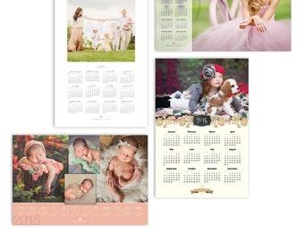 2017 Calendar Template Bundle - Four Photo Calendar Photoshop Templates For Photographers - 12x18 Bundle - 1356