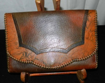 Leather Clutch Vintage Hand Tooled by Justin
