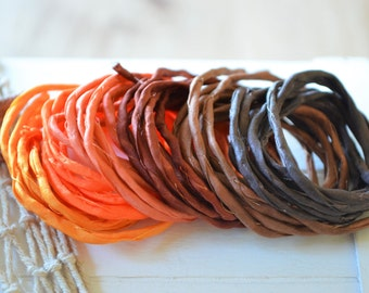 Hand dyed Silk Cords  - Set of 6 - orange brown silk strings autumn colors