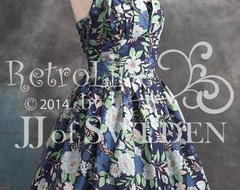 Flower patterned retro Swing dress. Designer dress, handmade 50's vintage inspired halterneck M  / L Full skirt