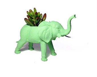 Up-cycled Mint Green Elephant Animal Planter