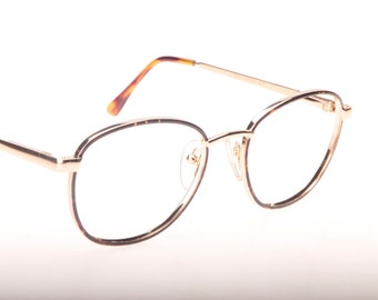 AO Safety by American Optical, golden squared eyeglasses frames with tortoise rims and tips, NOS 1980s made in USA