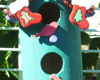 Double Story Round Bird House Ornament Purple Roof/Teal House (23)